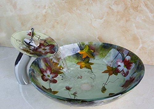 Aufsatzwaschbecken mit aufgemaltem Blumenmuster, luxuriös, aus gehärtetem Glas