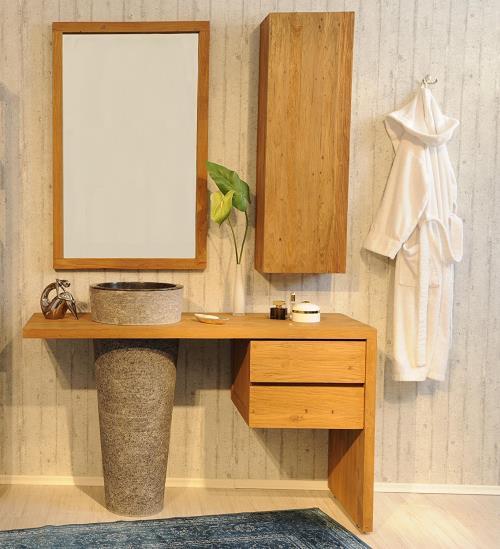 Marmor-Waschbecken im Set mit edlen Teak Badmöbel und Unterschrank