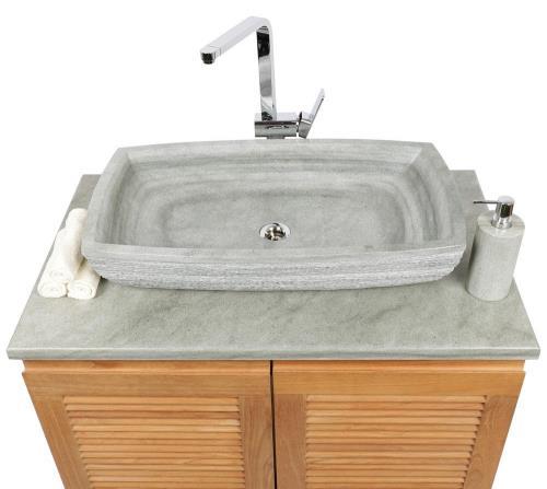 Sandstein-Waschbecken, Aufsatzwaschbecken aus echtem Stein