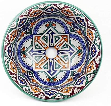 Orientalische-Keramik-Waschbecken-Kunsthandwerk-Handwaschbecken-Aufsatzwaschbecken